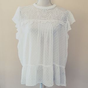 Maurices white sheer blouse size xl